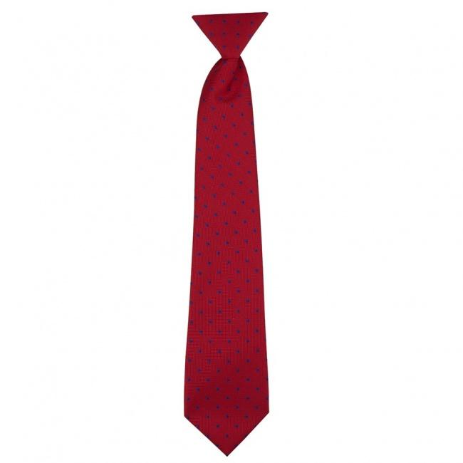 Červená dětská kravata s modrými puntíky