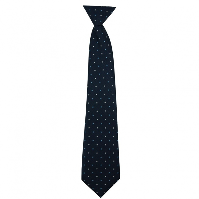Tmavě modrá dětská kravata s bílo modrými puntíky