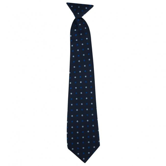 Tmavě modrá dětská kravata s modrými puntíky