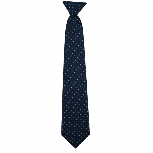 Tmavě modrá dětská kravata se světle modrými puntíky