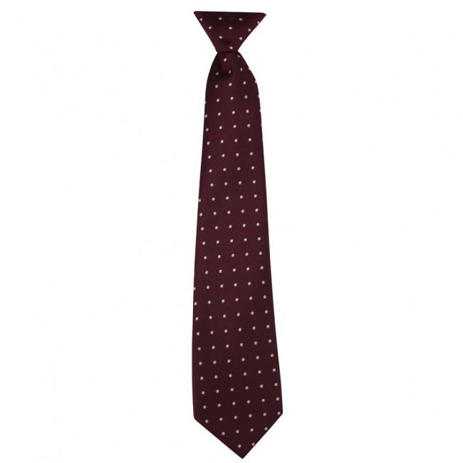 Vínově červená dětská kravata s bílými puntíky