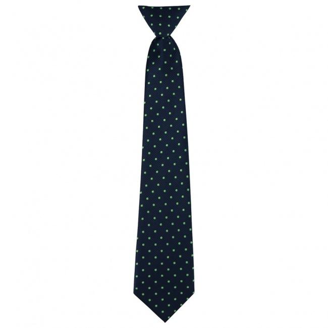 Tmavě modrá dětská kravata se zelenými puntíky