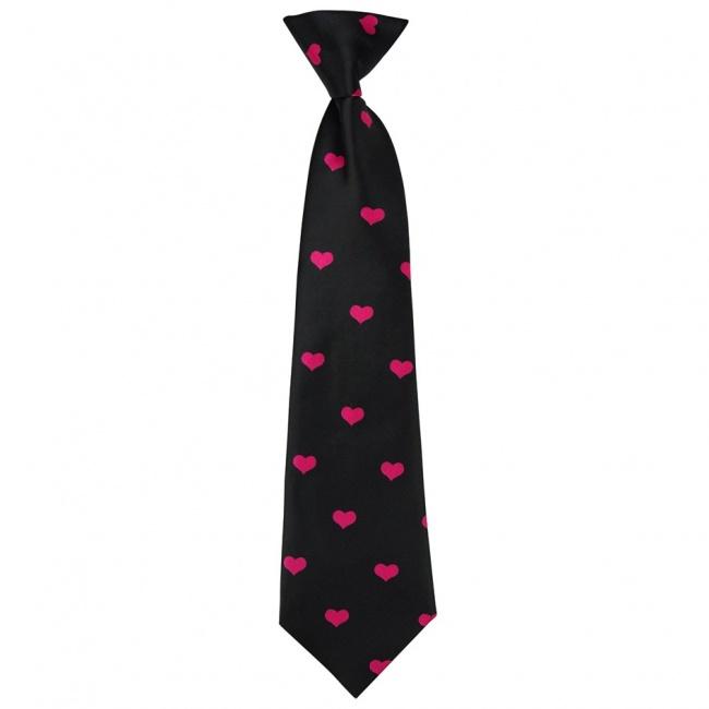 Černá dětská kravata s růžovými srdíčky
