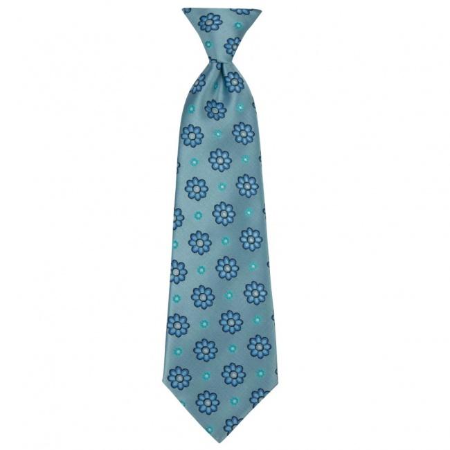 Světle modrá dětská kravata s modrými květy