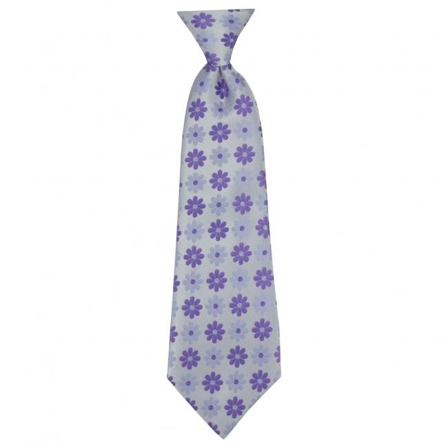 Stříbrná dětská kravata s fialovými květy