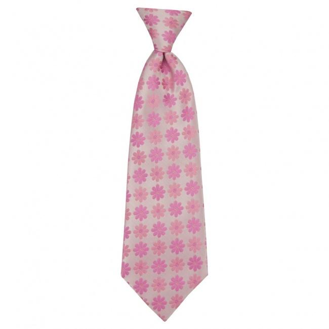 Světle růžová dětská kravata s růžovými květy