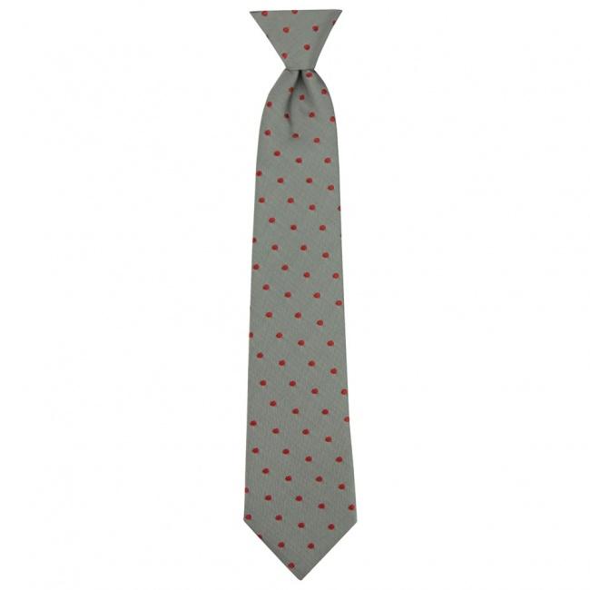 Šedá dětská kravata s červenými puntíky