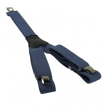 Modro šedé pánské široké šle - kšandy 120cm