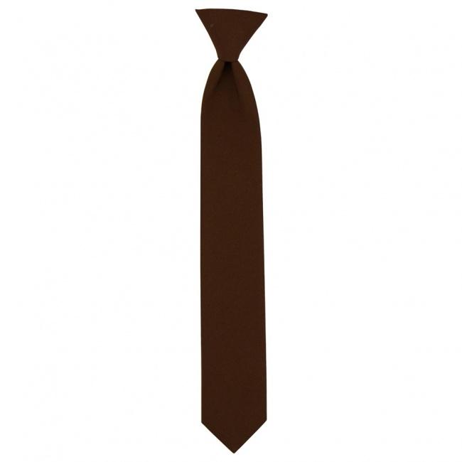 Hnědá dětská úzká kravata jednobarevná