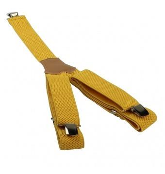 Žluté pánské široké šle - kšandy 120cm