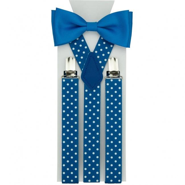 Modrý pánský set Motýlek a Šle s bílými puntíky matný