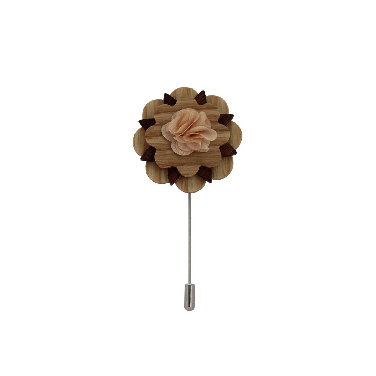 Starorůžová dřevěná květina do klopy