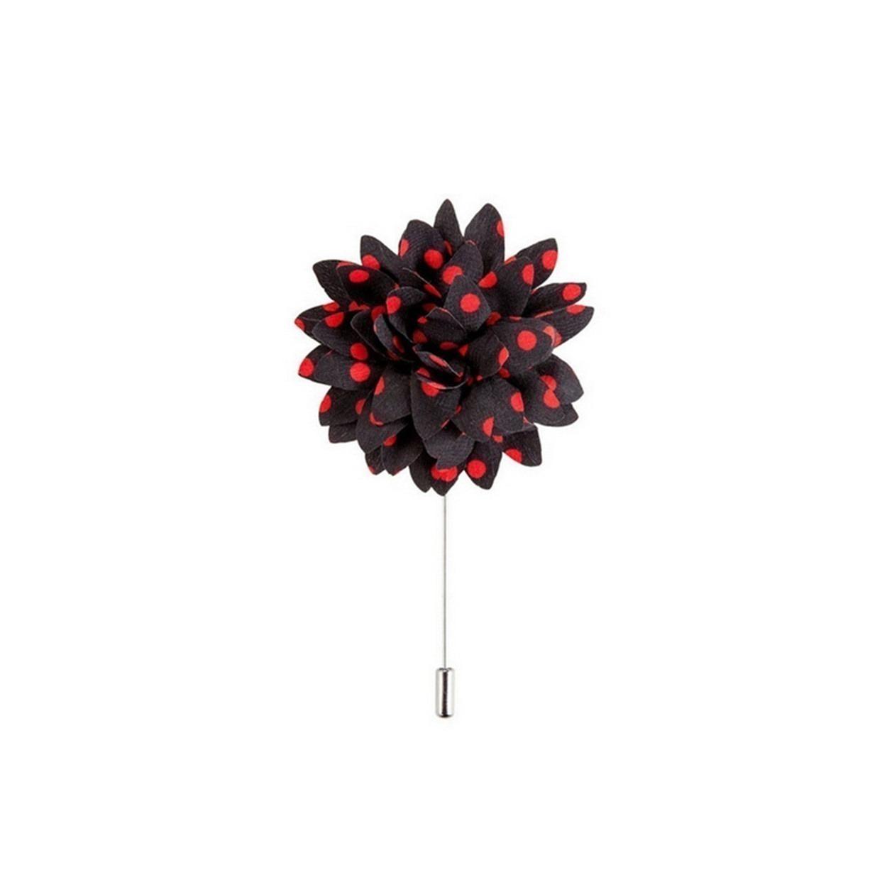 Černá květina s červenými puntíky do klopy