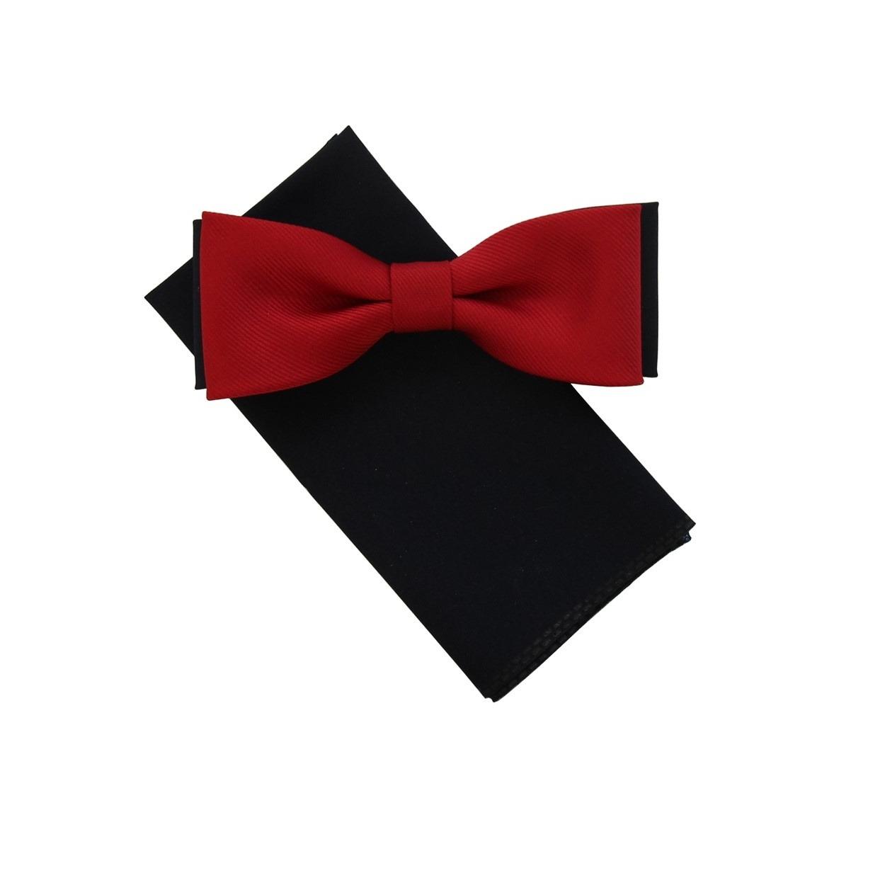 Modro červený pánský motýlek s kapesníčkem matný